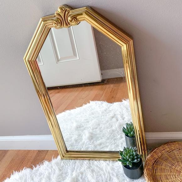 Vintage MCM Home Interiors Homco Faux Brass Mirror